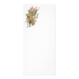 Cruz verde con las flores rosadas tarjetas publicitarias