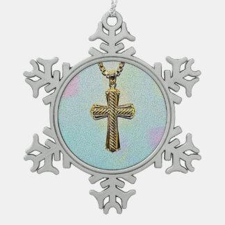 Cruz y cadena adornadas del oro adorno