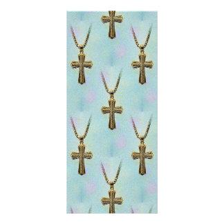 Cruz y cadena adornadas del oro folleto publicitario 10 x 22,8 cm