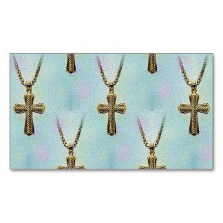 Cruz y cadena adornadas del oro tarjetas de visita magnéticas (paquete de 25)