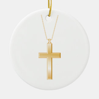 Cruz y cadena, parecer del oro la joyería real adorno navideño redondo de cerámica