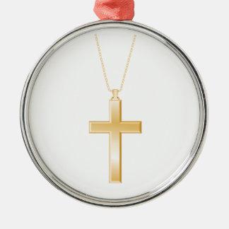 Cruz y cadena, parecer del oro la joyería real adorno navideño redondo de metal
