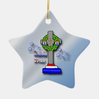 Cruz y guirnalda - ornamento del Memorial Day Adorno De Navidad