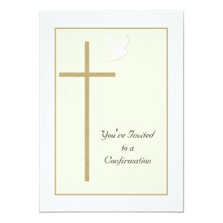 Cruz y paloma de la invitación de la confirmación