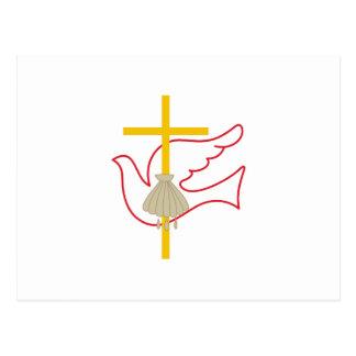 Cruz y paloma del bautismo postal