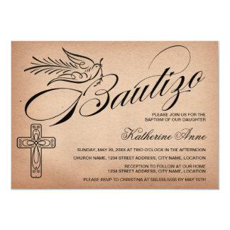 Cruz y paloma elegantes Bautizo de la escritura Invitación 12,7 X 17,8 Cm