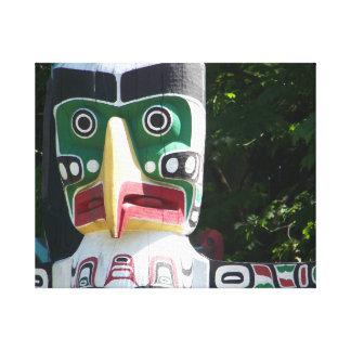 "CS tribal de Alaska 20"" del tótem x 16"" impresión Lienzo Envuelto Para Galerias"