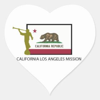 CTR DE LA MISIÓN LDS DE CALIFORNIA LOS ÁNGELES PEGATINA EN FORMA DE CORAZÓN