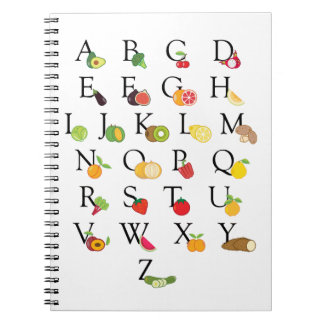 Cuaderno A-Z del alfabeto de ABC de la fruta y verdura del