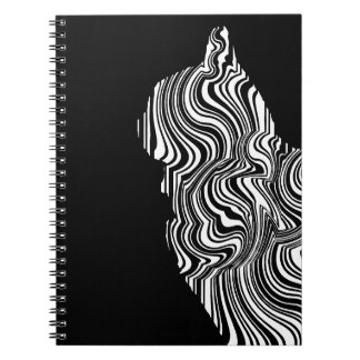 Cuaderno Abstract Black and White Cat Swirl Monochroom