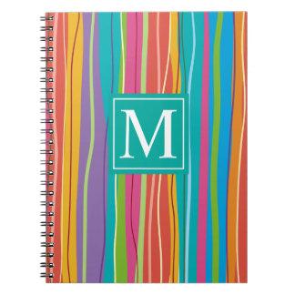 Cuaderno abstracto colorido dulce del monograma el