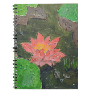 Cuaderno Acrílico en la lona, flor rosada del lirio de agua