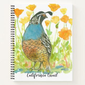 Cuaderno Acuarela del naranja de las amapolas del pájaro de