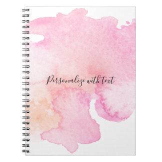 Cuaderno Acuarela rosada bonita del melocotón