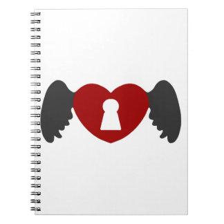 Cuaderno Ala del corazón del ojo de la cerradura Gris-Roja