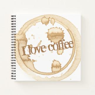Cuaderno Amo el texto del Grunge del café con las manchas