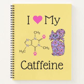 Cuaderno Amo mi amarillo púrpura del gato del cafeína de