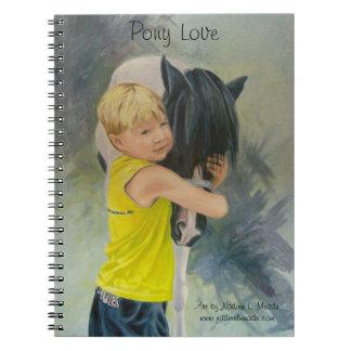 Cuaderno, amor del potro, pintura al óleo del much libro de apuntes con espiral