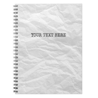 Cuaderno arrugado del personalizado de la fuente
