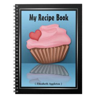 Cuaderno azul de la receta de la reflexión rosada