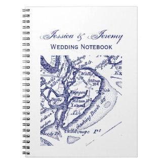 Cuaderno Azules marinos del mapa del vintage del SC de