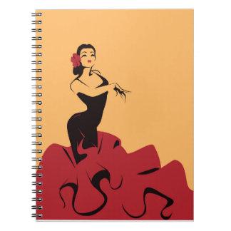 Cuaderno bailarín del flamenco en una actitud espectacular