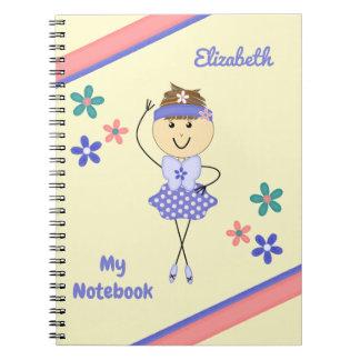 Cuaderno Bailarina personalizada de la púrpura de los niños