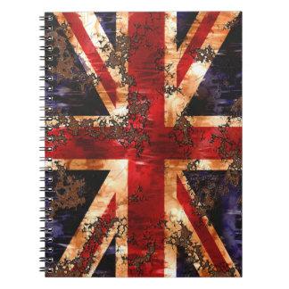 Cuaderno Bandera patriótica aherrumbrada de Reino Unido