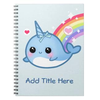 Cuaderno Bebé lindo narwhal con el arco iris - personalizad