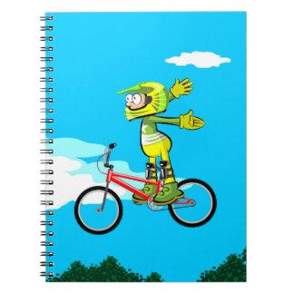 Cuaderno Bicicleta BMX parado en el aire y sin agarrarse