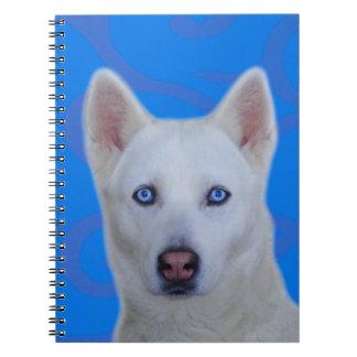 Cuaderno blanco del husky siberiano