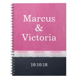 Cuaderno Boda moderno de la pintura rosada del esmalte