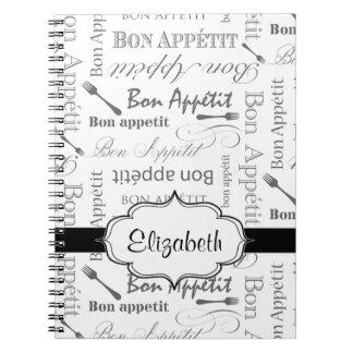 Cuaderno Bon francés Appetit del vintage blanco y negro