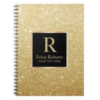 Cuaderno Brillo moderno del oro de la inicial del oro del