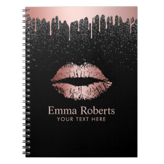 Cuaderno Brillo subió goteo moderno del negro de los labios