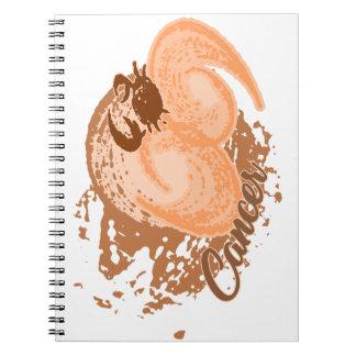 Cuaderno Cangrejo anaranjado del horóscopo del cáncer