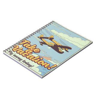 Cuaderno Cartel del viaje del estilo del vintage del monte