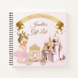 Cuaderno Chica real de princesa Castle Carriage Pink Gold
