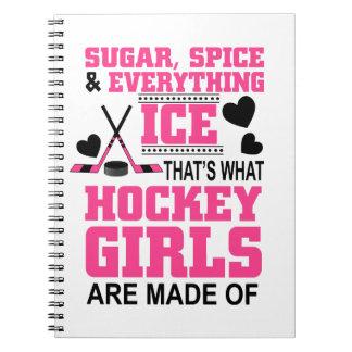 Cuaderno chicas lindos del hockey sobre hielo del azúcar y