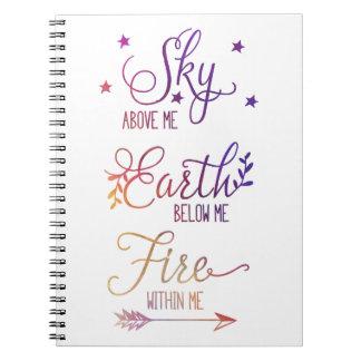 """Cuaderno """"Cielo sobre mí, fuego dentro de mí"""" diario"""