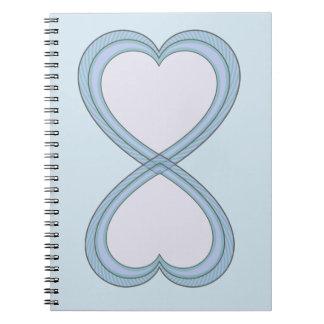 Cuaderno Círculo corazón azul y rosado de 8