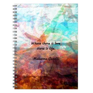 Cuaderno Cita inspirada de Gandhi sobre amor, vida y
