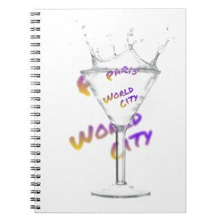 Cuaderno Ciudad del mundo de París, texto en vidrio de la