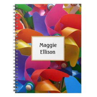 Cuaderno colorido personalizado del molinillo de
