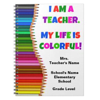 Cuaderno colorido personalizado del profesor