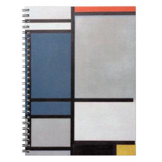 Cuaderno Composición de Mondrian con rojo, azul, negro, ama