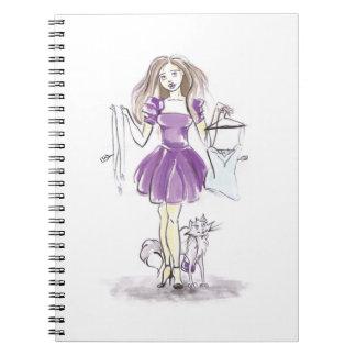 Cuaderno Compras lindas del chica y del gato de la moda del