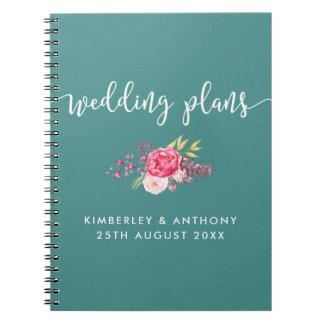 Cuaderno con guión y floral del planeamiento del