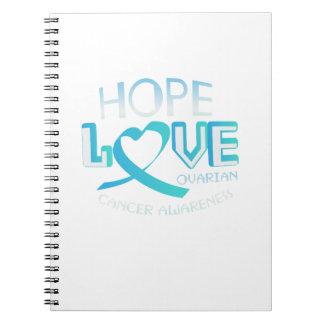Cuaderno Conciencia del cáncer ovárico de la ayuda del amor
