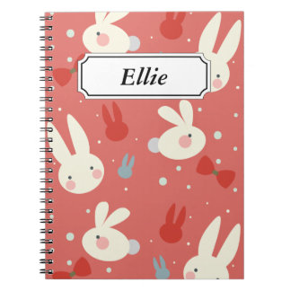 Cuaderno Conejitos de pascua lindos en modelo rojo del
